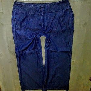 Cato's Jeans Plus Size 18wX33 Pinstripe Wide Leg